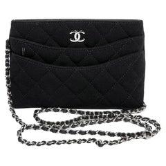 Chanel Black Jersey Clutch