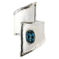 Yianni Creations 1.60 Carat London Blue Topaz Fine Silver 950 Ring