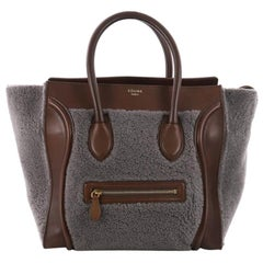 Celine Bicolor Luggage Handbag Shearling Mini