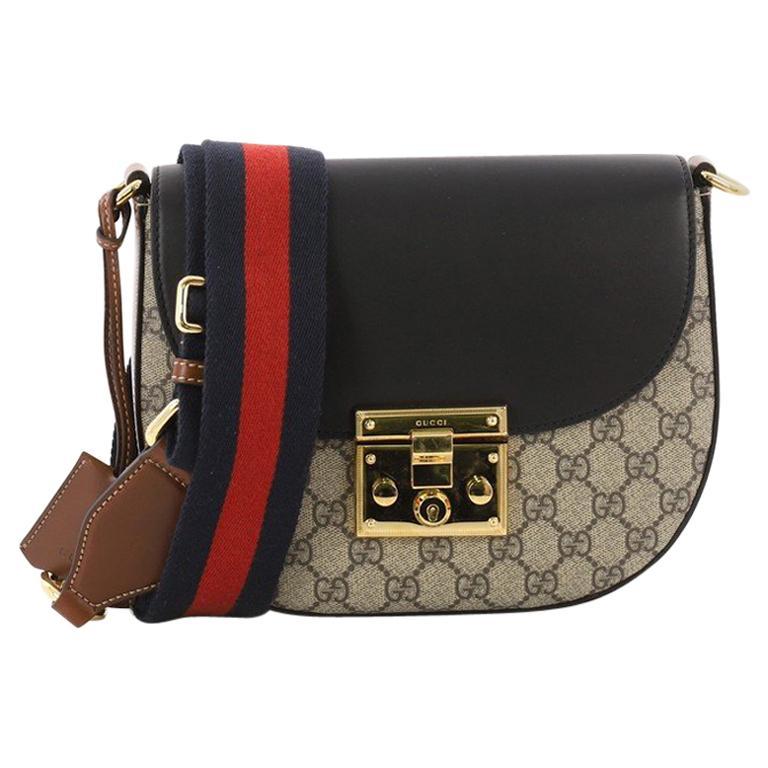 8d5307e69883e2 Gucci Padlock Saddle Shoulder Bag GG Coated Canvas and Leather Medium For  Sale