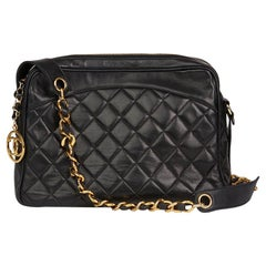 1991 Chanel Black Quilted Lambskin Vintage Timeless Charm Camera Bag
