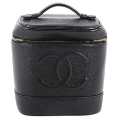 Chanel Vintage CC Cosmetic Case Caviar Tall