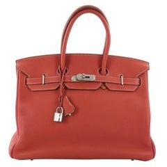 Hermes Eclat Birkin Handbag Sanguine and White Clemence with Palladium Hardware