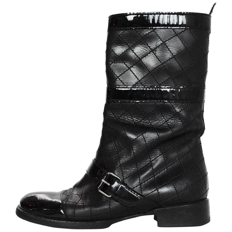 8888ef7c35ca Chanel Black Quilted Leather Buckle Boots W  Patent Toe Sz 38 For Sale