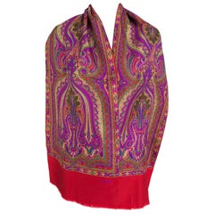 Fendi Paisley Silk Oblong Scarf in Reds and Fuchsia