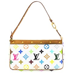 Louis Vuitton LV White Multicolore Monogram Pochette Accessories Bag w. Studs
