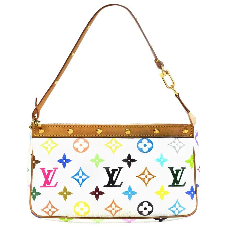 ee7ed2876d48 Louis Vuitton LV White Multicolore Monogram Pochette Accessories Bag w.  Studs For Sale