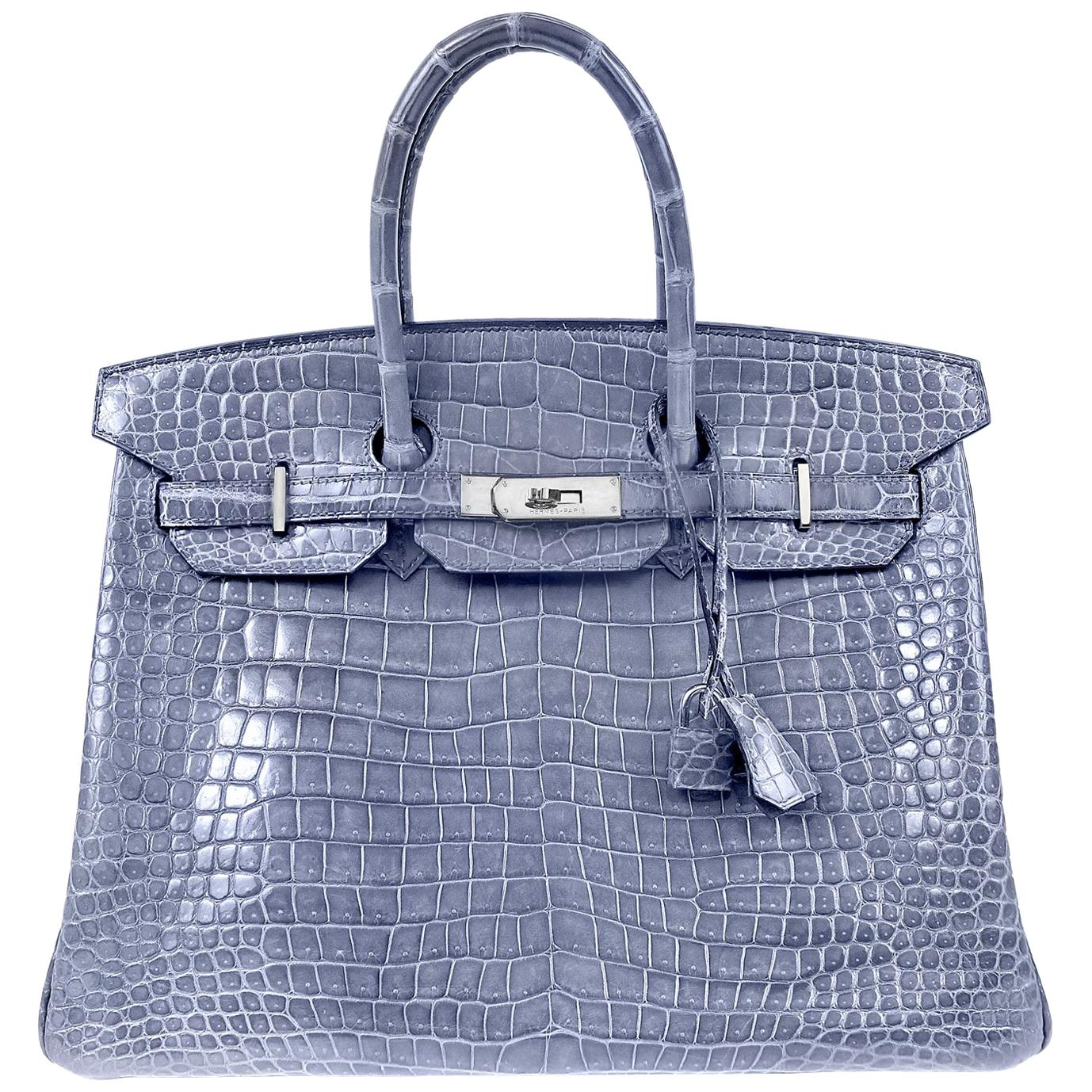 authentic large dustbag designed for hermes handbags 601b8 75477  low cost  hermès blue brighton porosus crocodile 35 cm birkin bag with palladium  313e6 ... cca6a74b27aa3