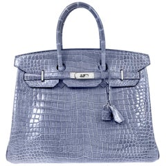 Hermès Blue Brighton Porosus Crocodile 35 cm Birkin Bag with Palladium
