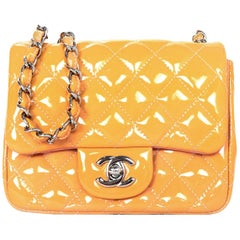 Chanel Peach Patent Leather Quilted Square Mini Classic Crossbody Flap Bag