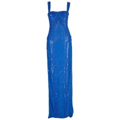 Versace embellished blue gown