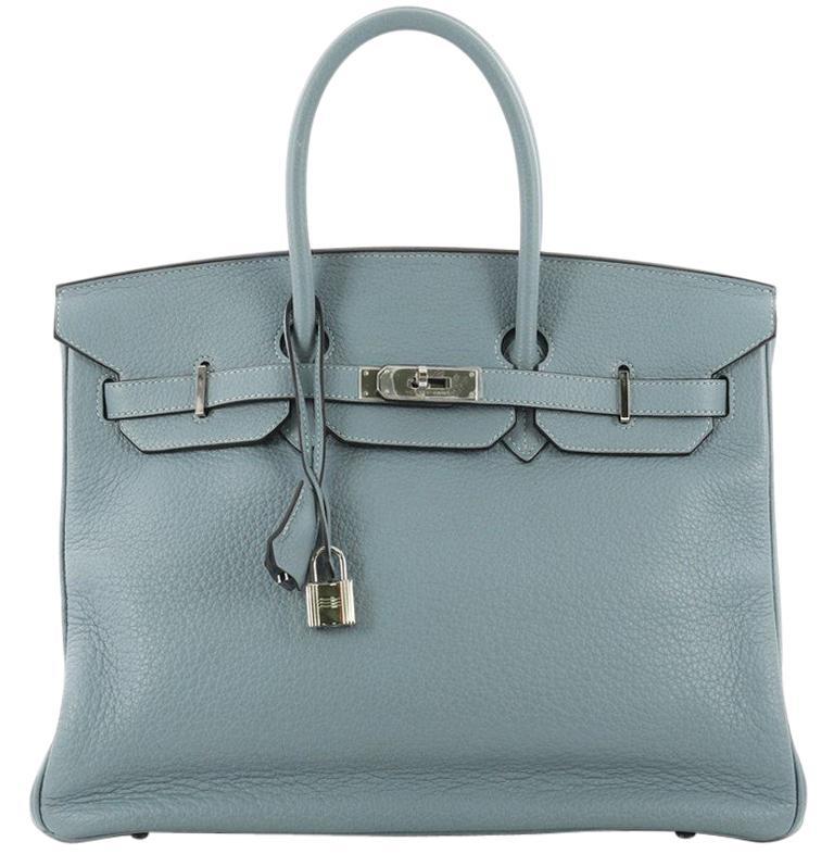 c9d5da32e Hermes Birkin Handbag Ciel Blue Clemence with Palladium Hardware 35 For Sale