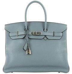 Hermes Birkin Handbag Ciel Blue Clemence with Palladium Hardware 35