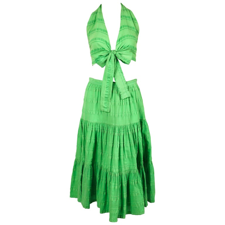 Yves Saint Laurent lime green crop top and tiered skirt, 1970s