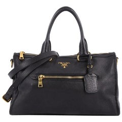Prada Front Zip Convertible Satchel Vitello Phenix Medium