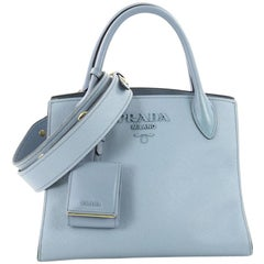 Prada Monochrome Tote Saffiano Leather with City Calfskin Small