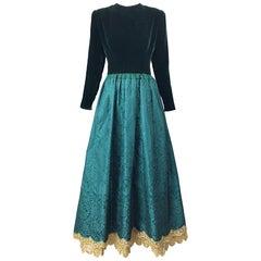 Stunning Vintage Oscar de la Renta Hunter Forest Green Velvet Silk Damask Gown 8