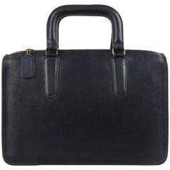 """COACH c.1974 BONNIE CASHIN """"Slim Satchel"""" Navy Blue Leather Top Handle Briefcase"""