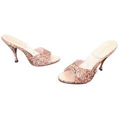 Never Worn 1950s Joseph Magnin Size 7 / 7.5 Confetti Silk Springulator Heels