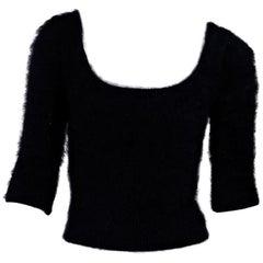 Black Roberto Cavalli Cropped Angora Sweater