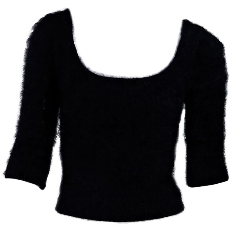 Black Roberto Cavalli Cropped Angora Sweater For Sale at ...