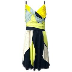 Emilio Pucci 1990s Size 8 Chartreuse Black Ivory Kaleidoscope Silk Jersey Dress