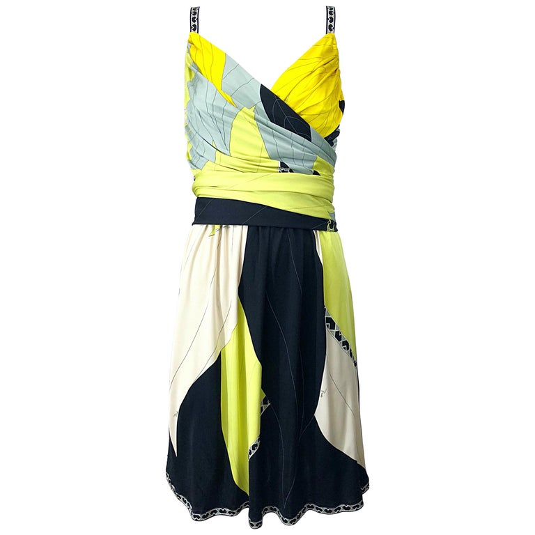 419b35e06478 Emilio Pucci 1990s Size 8 Chartreuse Black Ivory Kaleidoscope Silk Jersey  Dress For Sale