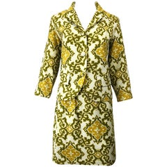 Chic 1960s Joseph Magnin Baroque Print Chartreuse Silk + Cotton 60s Skirt Suit
