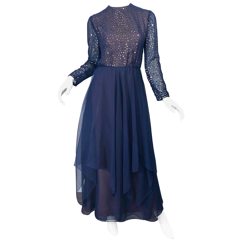 Gorgeous 1960s Kiki Hart Navy Blue Gold Sequin Vintage 60s Gown Evening Dress