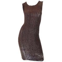 Bill Blass Early 2000s Silk Chiffon Brown Bronze Fully Sequined Sheath Dress