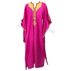 Amazing 1970s Hot Pink + Yellow Angel Sleeve Vintage 70s Kaftan Maxi Dress