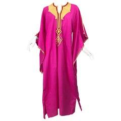 Amazing 1970s Hot Pink + Yellow Angel Sleeve Vintage 70s Kaftan Maxi Dress