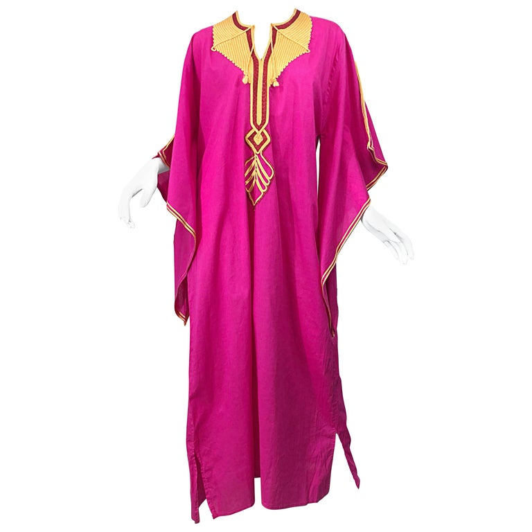 Amazing 1970s Hot Pink + Yellow Angel Sleeve Vintage 70s Kaftan Maxi Dress For Sale