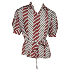 Red & White Vintage Balenciaga Striped Blouse