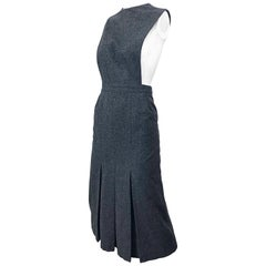 1960s Pierre Cardin Couture Rare Charcoal Gray Space Age Cut Out 60s Wool Dress