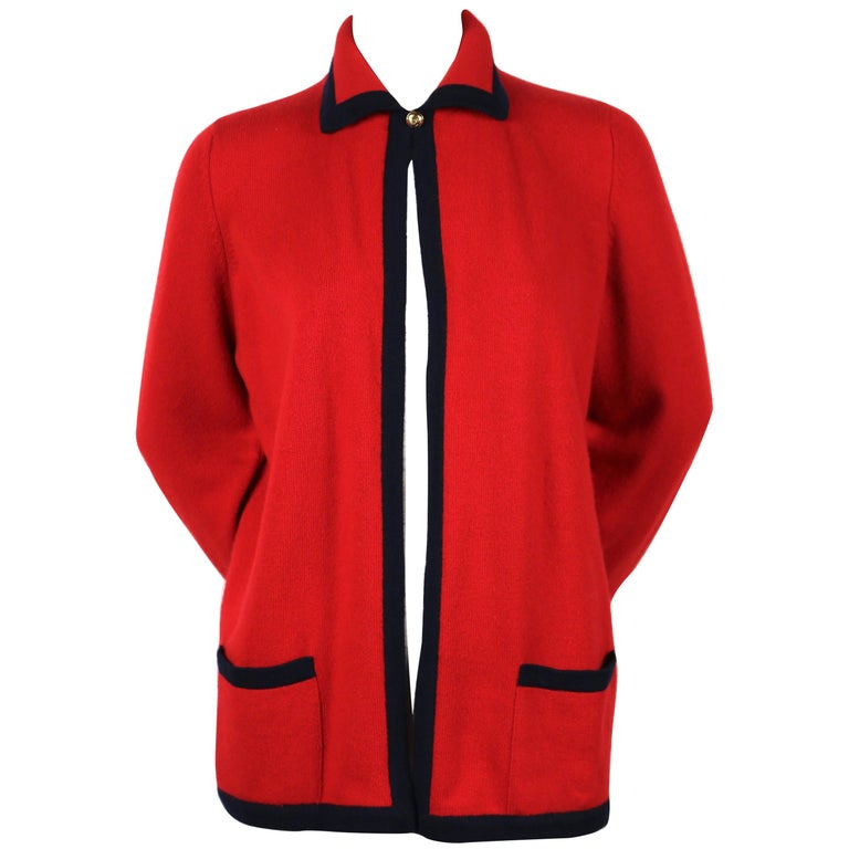 Chanel red and navy cashmere cardigan sweater, 1980s