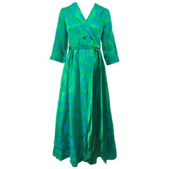 Beautiful 1950s Julius Lonschein Kelly Green Blue Belted Vintage 50s Wrap Dress
