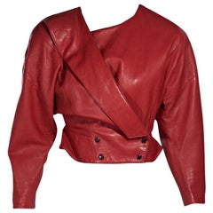 Red Vintage Michael Hoban Leather Cropped Jacket