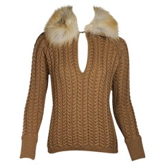 Brown Andrew Gn Fur-Collar Knit Sweater