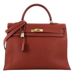 Hermes Kelly Handbag Vermillion Red Togo with Gold Hardware 35