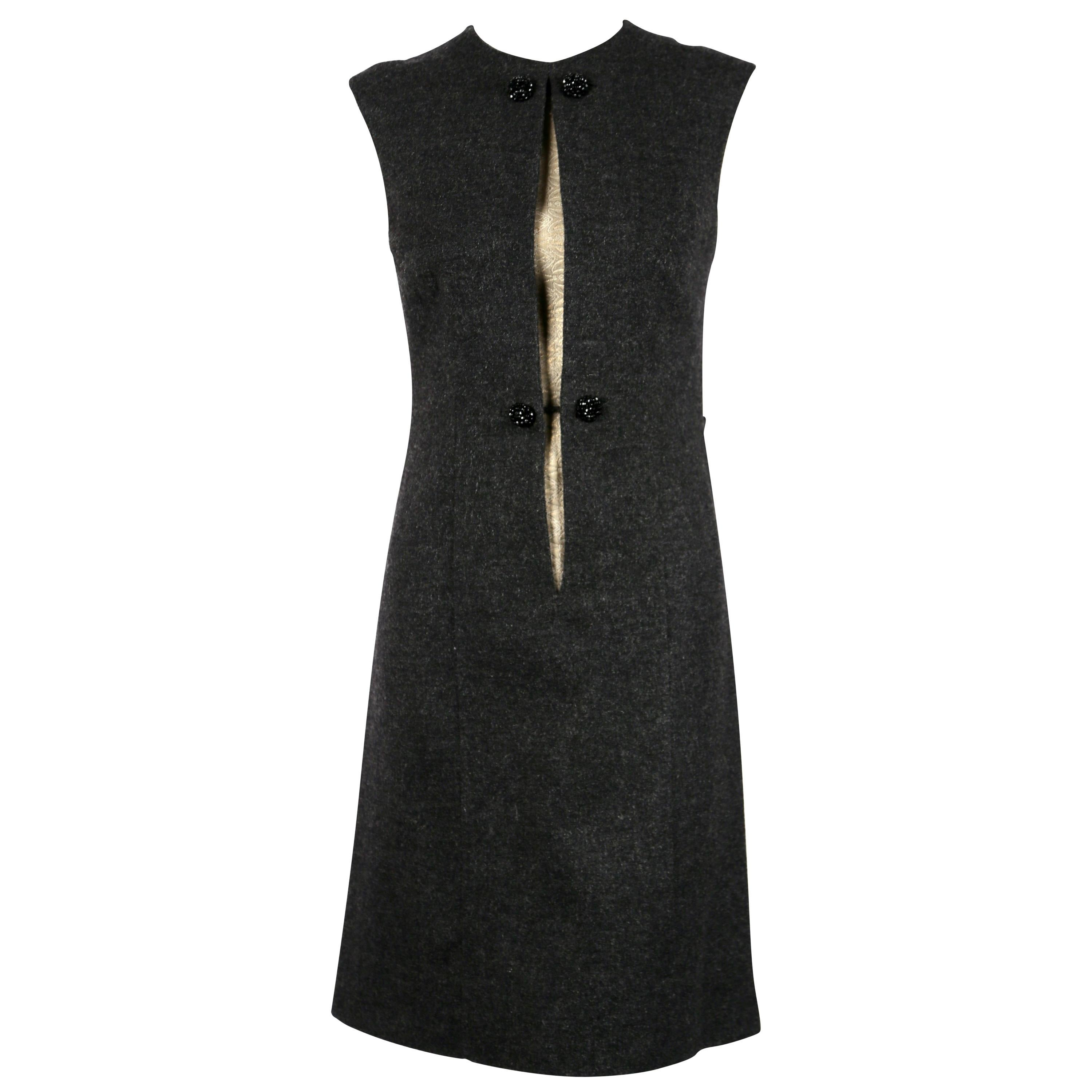 Sorelle Fontana charcoal grey wool dress with gold brocade detail, 1960s