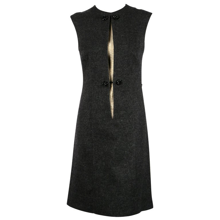 Sorelle Fontana charcoal grey wool dress with gold brocade detail, 1960s  For Sale