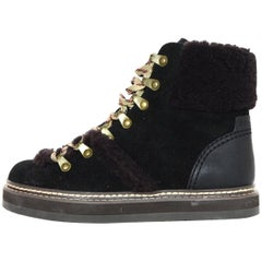 See By Chloe 2018 Shearling-Trimmed Suede Ankle Boots Sz 35 rt. $420