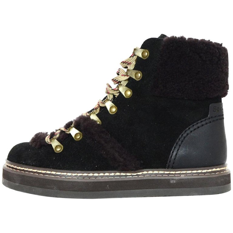 1929406a See By Chloe 2018 Shearling-Trimmed Suede Ankle Boots Sz 35 rt. $420
