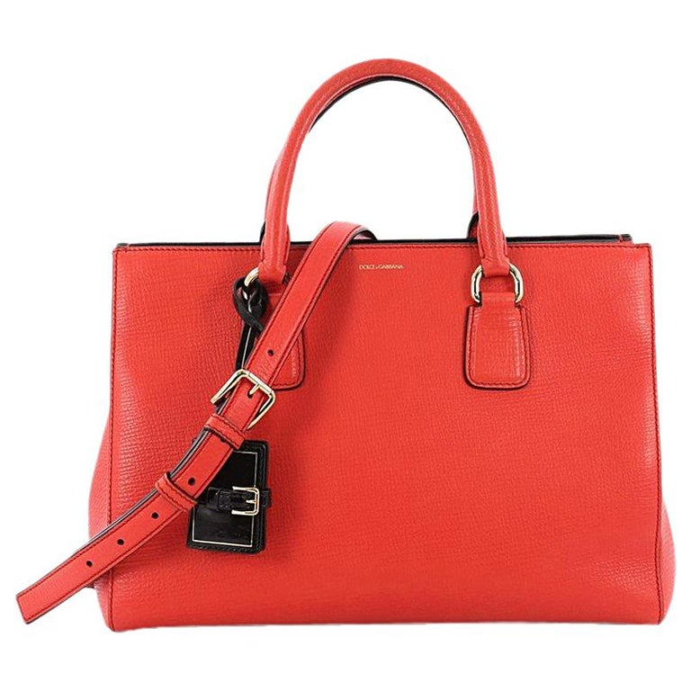 Red Dolce and Gabbana Ruffled Leather Tote Bag For Sale at 1stdibs 26340310de07d