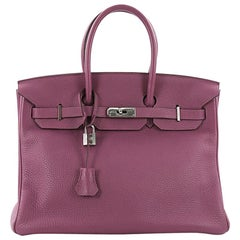 Hermes Birkin Handbag Tosca Togo with Palladium Hardware 35