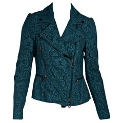 Teal Burberry London Lace Moto Jacket