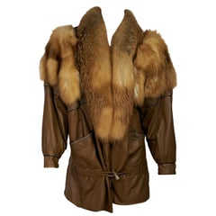 Brown Vintage J. Percy For Marvin Richards Ltd. Fur & Leather Coat