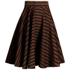 1950s Brown + Black Striped Circle Skirt with a Full Sweep