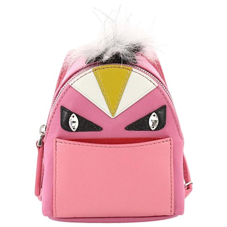 Fendi Monster Backpack Charm Nylon and Leather Micro For Sale